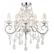 bathroom chandelier in chrome with crystal glass droplets
