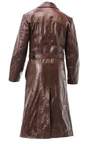 ww2 german gestapo leather trench coat brown leather
