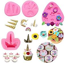 Amazoncom Mini Unicorn Mold Horn Ears Flowers Toppers Fondant Cake