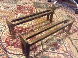 vintage antique rless 4920 fireplace wood stove cast iron log holder andirons