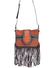 brown leather suede studded scully womens fringe handbag purse fringe scully leather handbag