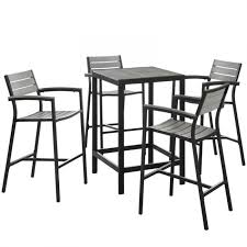 modern ways furniture 5ei x 1755 brn gry set 5 piece outdoor patio bar set brown gray