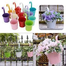 12x garden metal flower pots plant herb