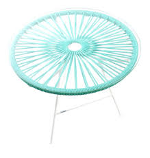 mini zipolite round table made of white steel coloured pvc rope and glass table