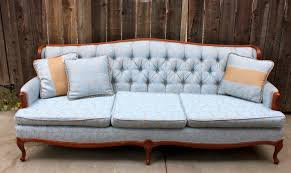 Contemporary Vintage Couch For Sale Light Blue Tufted Fabric With And Modern Design