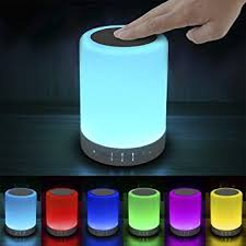 Elecstars Touch Bedside Lamp  with Bluetooth Speaker Dimmable Color Night  Light Outdoor Table