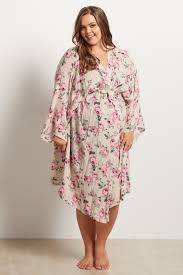 plus size robes taupe floral delivery nursing maternity plus size robe