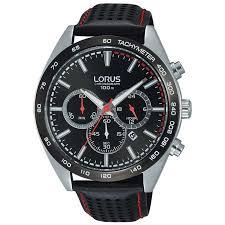 lorus chronograph black leather strap mens watch rt307gx9 196243 p jpg