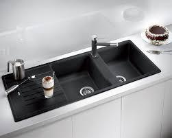 Black Composite Granite Sink Contemporary White Kitchen Blanco Zia