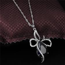 new style women fashion 925 silver sapphire pendant necklace engagement jewelry