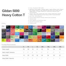 Gildan 5000 Color Chart 2018 100 Custom Printed Gildan Heavy Cotton Ts 1 Color Print 2 Locations