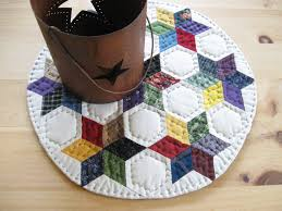 round table quilt quilted table topper quilted candle mat