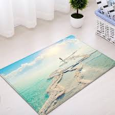 beach sea pattern water absorption area rug windsor blue w20 inch l31 5