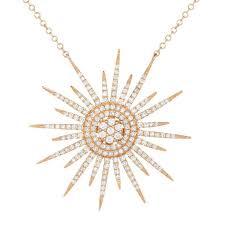 14k yellow gold diamond sun necklace