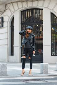 leather jackets will always work with an all black style larisa costea wears this jacket