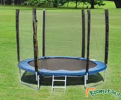 pvc padding and includes a full external safety enclosure this trampoline has a high upper weight limit of 150kgs it sits 76cm from the ground