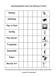 Kids Exercise Reward Chart Motivate Kids To Get Active