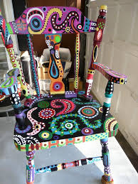 colorful painted furniture. kimagination my magical chair painting tutorial would be so fun for friends family to paint chairs how cool they look together ms colorful painted furniture