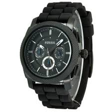 fossil men s watches shop the best deals for 2017 fossil men s fs4487 machine chronograph black dial watch black silicone strap