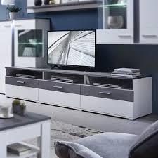 Amazing TV Board Spurt Lowboard TV Unterschrank Wohnzimmer Weiß Supermatt Und  Betonoptik