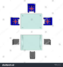 glass table top view. Top View Of A Meetings Room. Glass Table And Chairs Around. Vector Illustration On