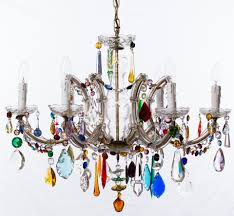 chandelier 6 arm u shaped marie therese with multi coloured drops and swags 2