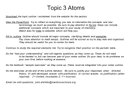 Topic 3 Atoms Download the topic outline / worksheet from the ...