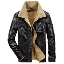 2019 new men s leather jacket pu coats mens brand clothing thermal outerwear winter fur male fleece jackets
