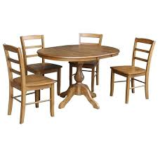 36 round dining table round dining table with leaf and 4 chairs pecan 5 piece