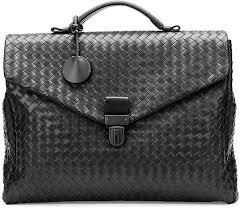 bottega veneta small woven leather briefcase black