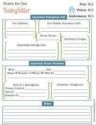 babysitter information sheet printable prepare your babysitter life hacks