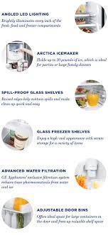 Top Ten Side By Side Refrigerators Ge Adora 254 Cu Ft Side By Side Refrigerator In Stainless Steel