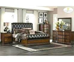 cherry wood bedroom set. Impressive Cherry Wood Sleigh Bedroom Set Dark Brown Tufted Leather Bed With O