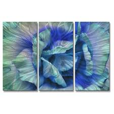 allyson kitts x27 blue rose x27 metal wall decor  on navy blue and teal wall art with shop allyson kitts blue rose metal wall decor 3 piece set free