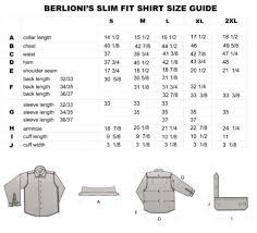 Dress Shirt Size Chart Size Chart Berlioni Shirts