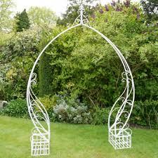 white wash metal garden arch 8ft 10in