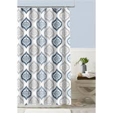 Colordrift Polyester Indigo Patterned Shower Curtain