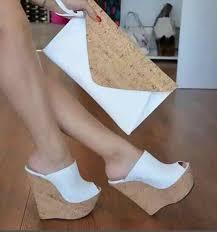 <b>Moraima Snc</b> Black Cork Platform Sandals Peep Toe Wedge Heel ...