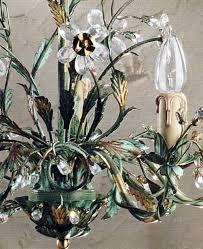 5650 5 Pendelleuchte Verde Etrusco Kristallblumen Und Rispen