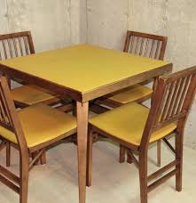 vinyl top wooden card table and chairs ebth vinyl top wooden card table and chairs