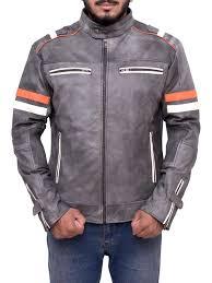 light grey biker jacket distressed grey biker jacket cafe racer grey leather jacket
