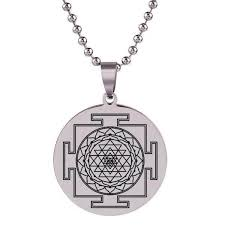 sri yantra stainless steel necklace
