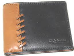 coach f75170 baseball stitch leather compact id 3 in 1 wallet saddle black
