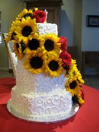 12 Wedding Cakes With Roses And Sunflowers Photo Roses And