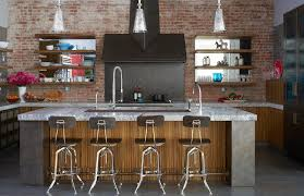 industrial kitchen with vintage architect stools contemporary