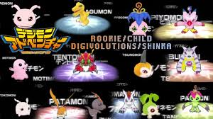 Digimon Digivolution Chart Season 1 Digimon Adventure Psp All Rookie Child Digivolves Shinka