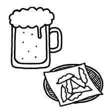 ビールと枝豆夏の食べ物夏のイラスト無料白黒イラスト素材