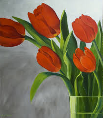 paintings of tulip in a vase paintings google search