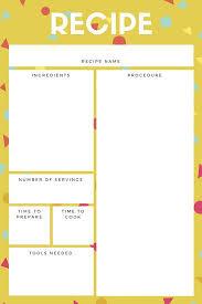 mustard yellow and white recipe card