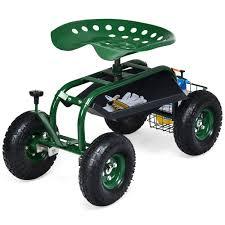 costway garden cart rolling work seat w
